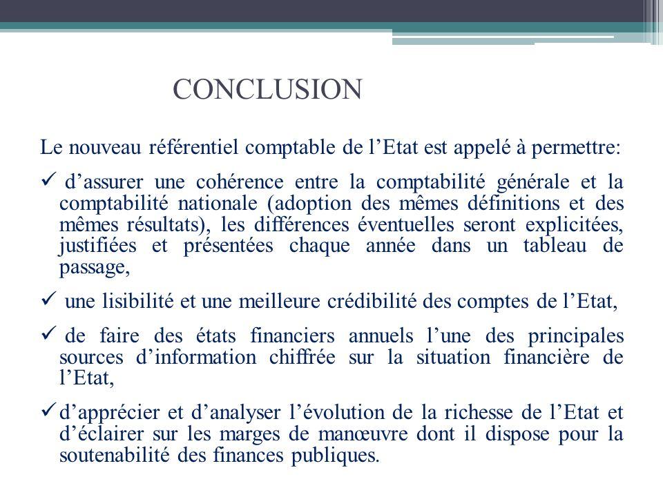CONCLUSION Le nouveau référentiel comptable de lEtat est appelé à permettre: dassurer une cohérence entre la comptabilité générale et la comptabilité