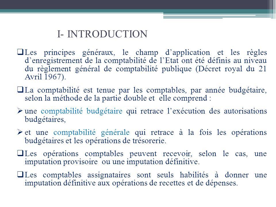 I- INTRODUCTION Les principes généraux, le champ dapplication et les règles denregistrement de la comptabilité de lEtat ont été définis au niveau du r