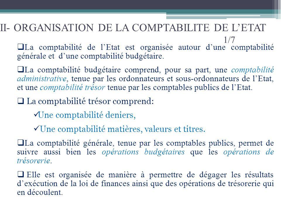 II- ORGANISATION DE LA COMPTABILITE DE LETAT 1/7 La comptabilité de lEtat est organisée autour dune comptabilité générale et dune comptabilité budgéta