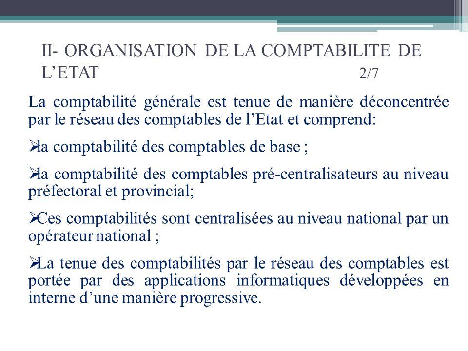 II- ORGANISATION DE LA COMPTABILITE DE LETAT 2/7 La comptabilité générale est tenue de manière déconcentrée par le réseau des comptables de lEtat et c