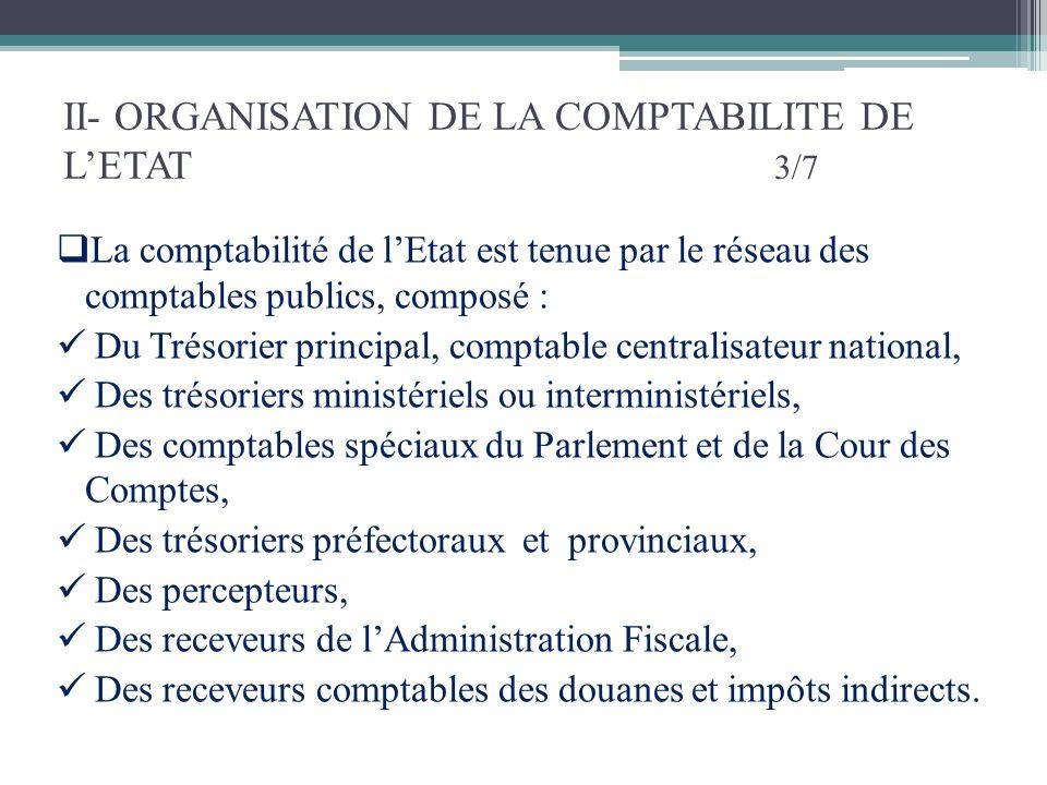 II- ORGANISATION DE LA COMPTABILITE DE LETAT 3/7 La comptabilité de lEtat est tenue par le réseau des comptables publics, composé : Du Trésorier princ