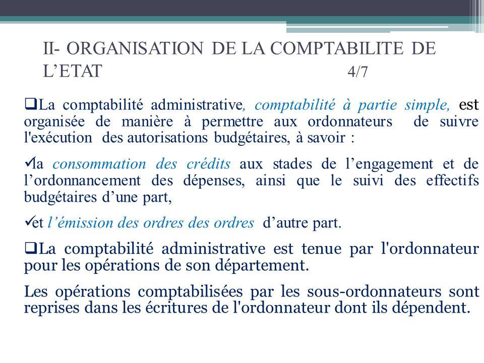 II- ORGANISATION DE LA COMPTABILITE DE LETAT 5/7 Les ordonnateurs tiennent une comptabilité pour suivre l exécution donnée : au budget général de l Etat ; à chacun des budgets des services de lEtat gérés de manière autonomes (SEGMA); à chacune des catégories de comptes spéciaux.
