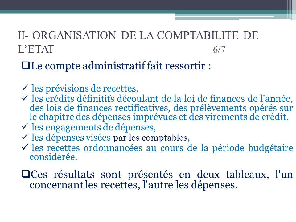 II- ORGANISATION DE LA COMPTABILITE DE LETAT 6/7 Le compte administratif fait ressortir : les prévisions de recettes, les crédits définitifs découlant
