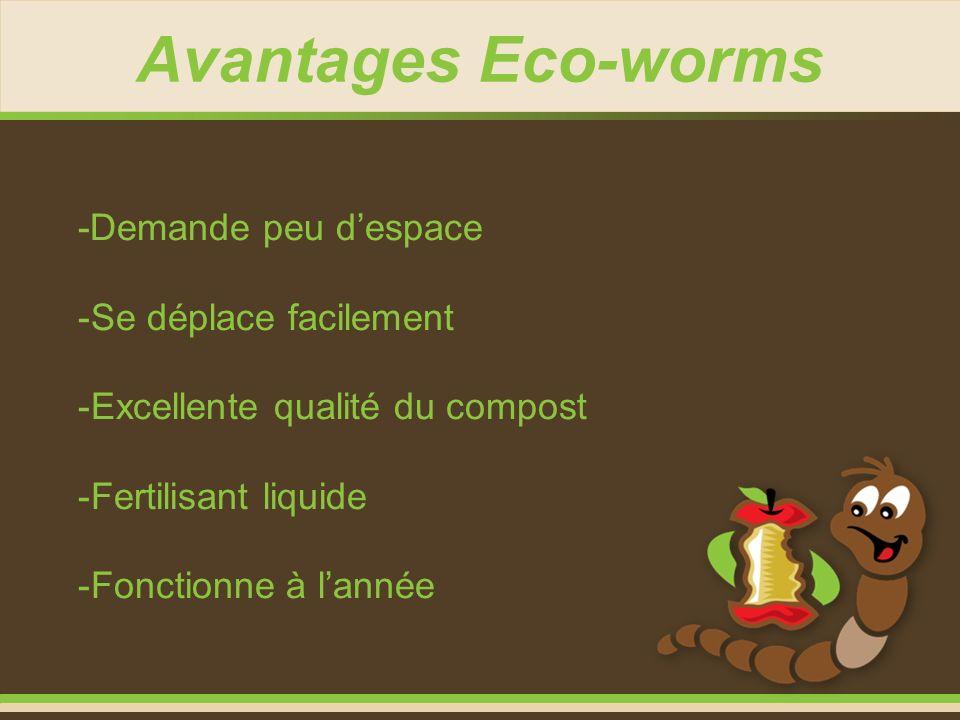 Avantages Eco-worms -Demande peu despace -Se déplace facilement -Excellente qualité du compost -Fertilisant liquide -Fonctionne à lannée