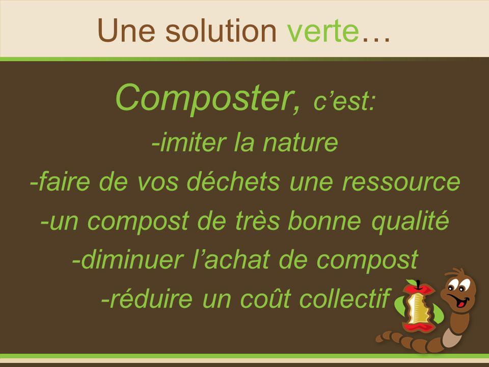 Une solution verte… Composter, cest: -imiter la nature -faire de vos déchets une ressource -un compost de très bonne qualité -diminuer lachat de compo