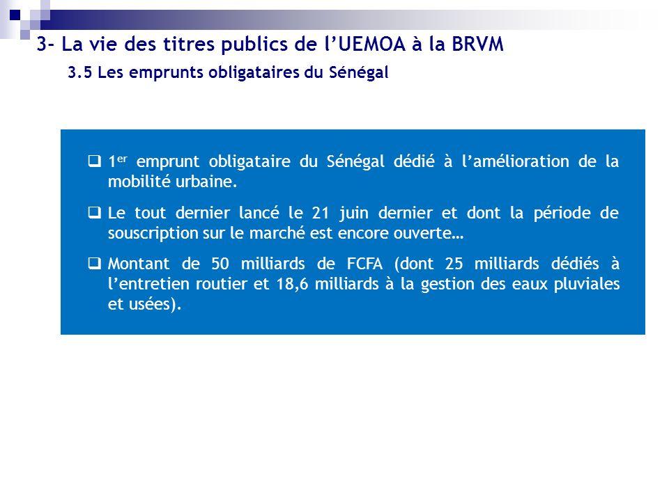 3- La vie des titres publics de lUEMOA à la BRVM 3.5 Les emprunts obligataires du Sénégal 1 er emprunt obligataire du Sénégal dédié à lamélioration de