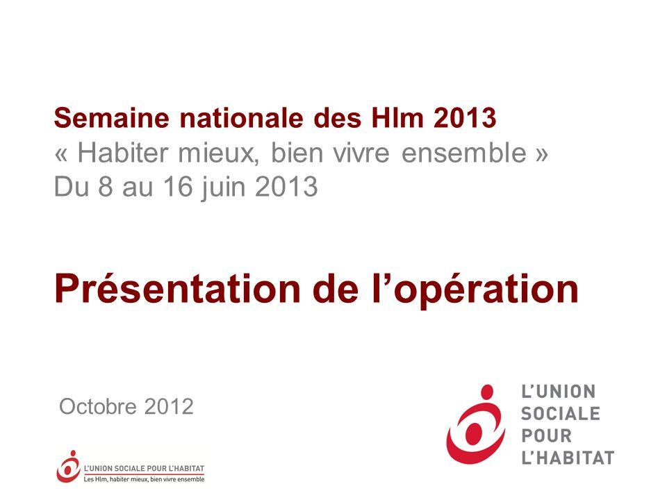 Semaine nationale des Hlm 2013 « Habiter mieux, bien vivre ensemble » Du 8 au 16 juin 2013 Présentation de lopération Octobre 2012