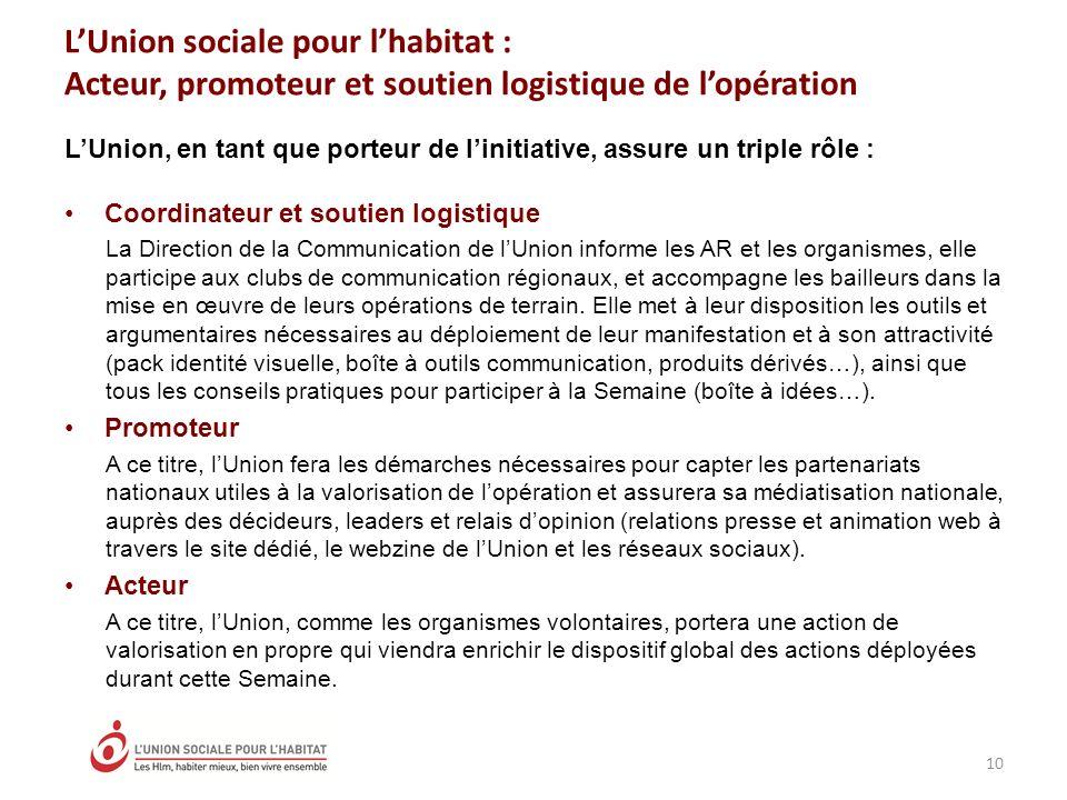 LUnion sociale pour lhabitat : Acteur, promoteur et soutien logistique de lopération 10 LUnion, en tant que porteur de linitiative, assure un triple r