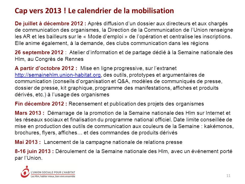 Cap vers 2013 ! Le calendrier de la mobilisation 11 De juillet à décembre 2012 : Après diffusion dun dossier aux directeurs et aux chargés de communic