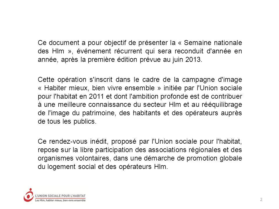 2 Ce document a pour objectif de présenter la « Semaine nationale des Hlm », événement récurrent qui sera reconduit d année en année, après la première édition prévue au juin 2013.