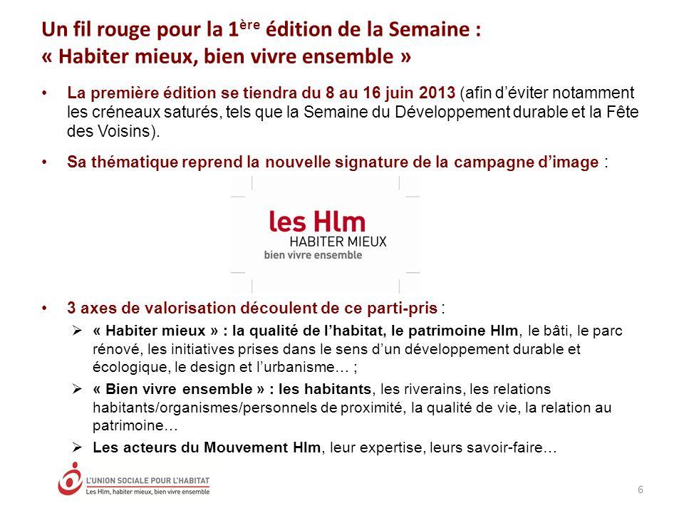 La première édition se tiendra du 8 au 16 juin 2013 (afin déviter notamment les créneaux saturés, tels que la Semaine du Développement durable et la Fête des Voisins).