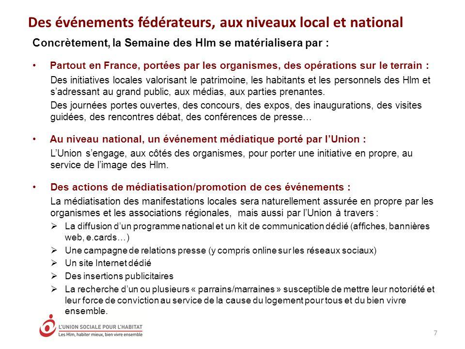 Concrètement, la Semaine des Hlm se matérialisera par : Partout en France, portées par les organismes, des opérations sur le terrain : Des initiatives locales valorisant le patrimoine, les habitants et les personnels des Hlm et sadressant au grand public, aux médias, aux parties prenantes.