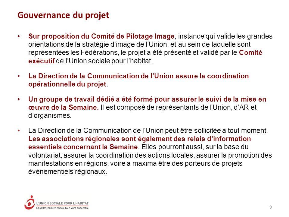 Gouvernance du projet Sur proposition du Comité de Pilotage Image, instance qui valide les grandes orientations de la stratégie dimage de lUnion, et a