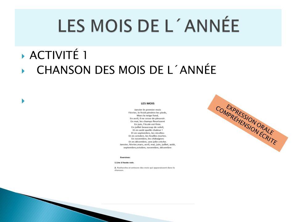 ACTIVITÉ 1 CHANSON DES MOIS DE L´ANNÉE EXPRESSION ORALE COMPRÉHENSION ÉCRITE