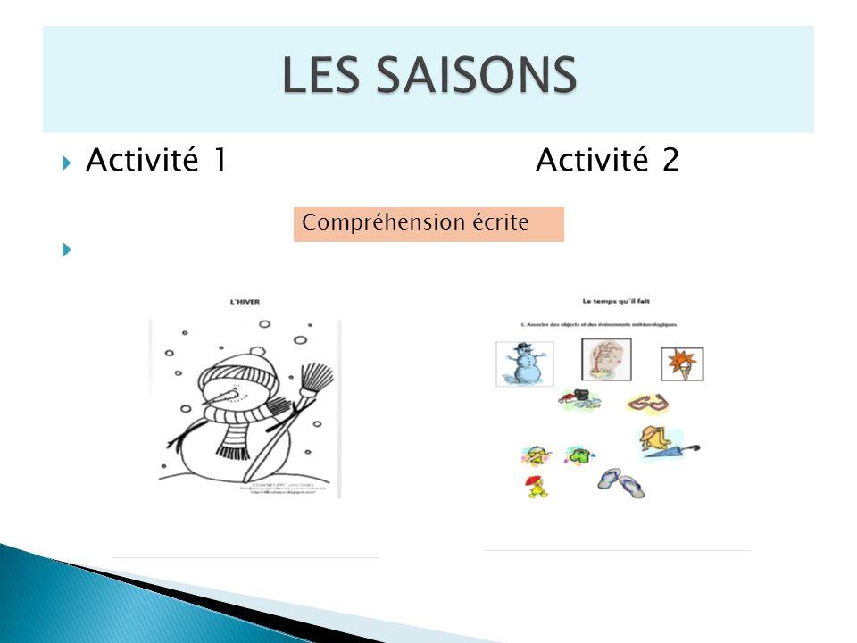 Activité 1 Activité 2 Compréhension écrite