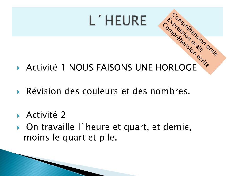Activité 1 NOUS FAISONS UNE HORLOGE Révision des couleurs et des nombres. Activité 2 On travaille l´heure et quart, et demie, moins le quart et pile.