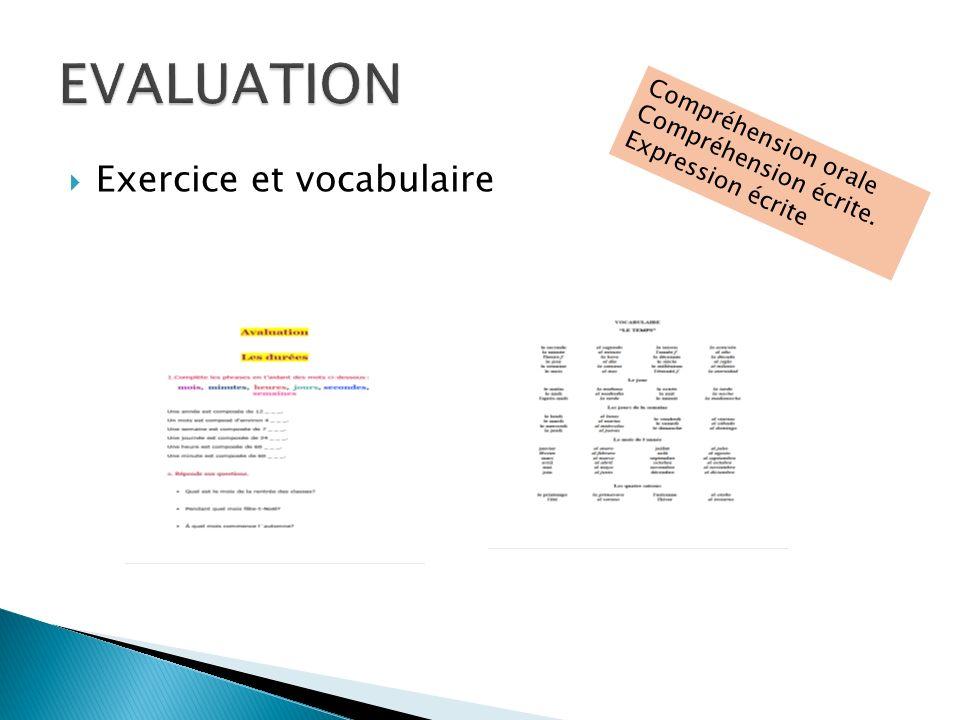 Exercice et vocabulaire Compréhension orale Compréhension écrite. Expression écrite