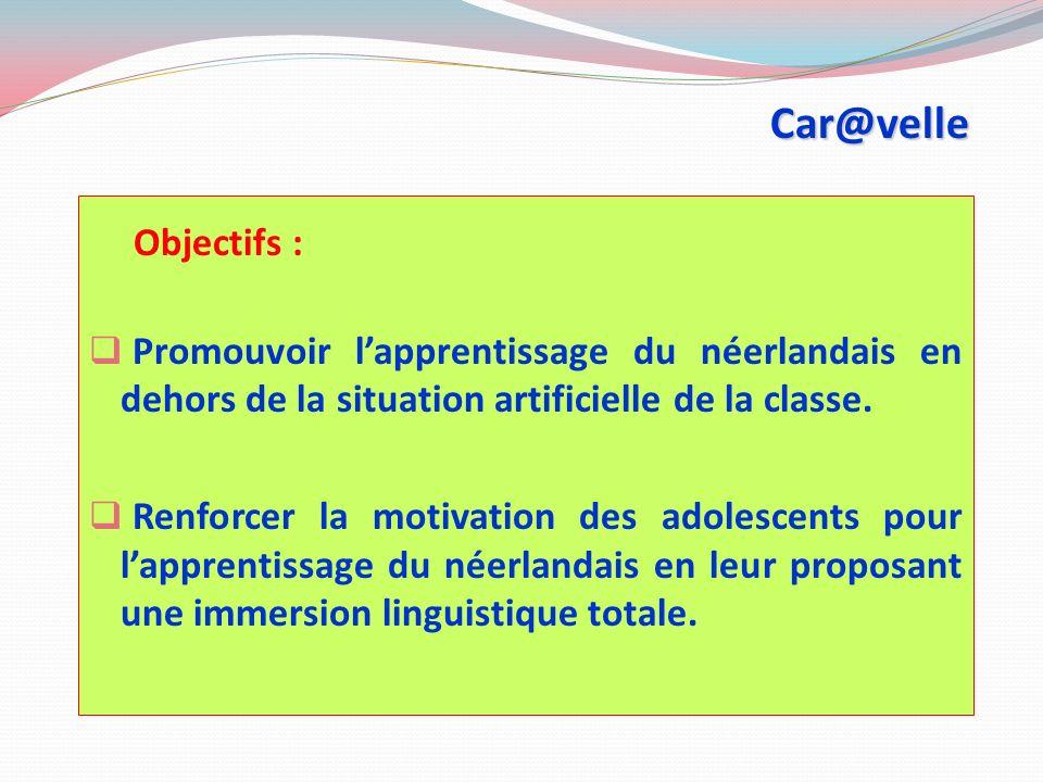 Car@velle Objectifs : Promouvoir lapprentissage du néerlandais en dehors de la situation artificielle de la classe.