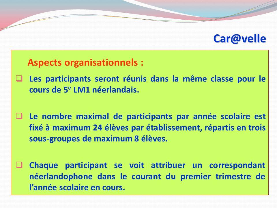 Car@velle « Les participants sont beaucoup plus à l aise en s exprimant oralement après ET ils apprennent à connaître la culture des jeunes francophones de leur âge et de la Wallonie en général.