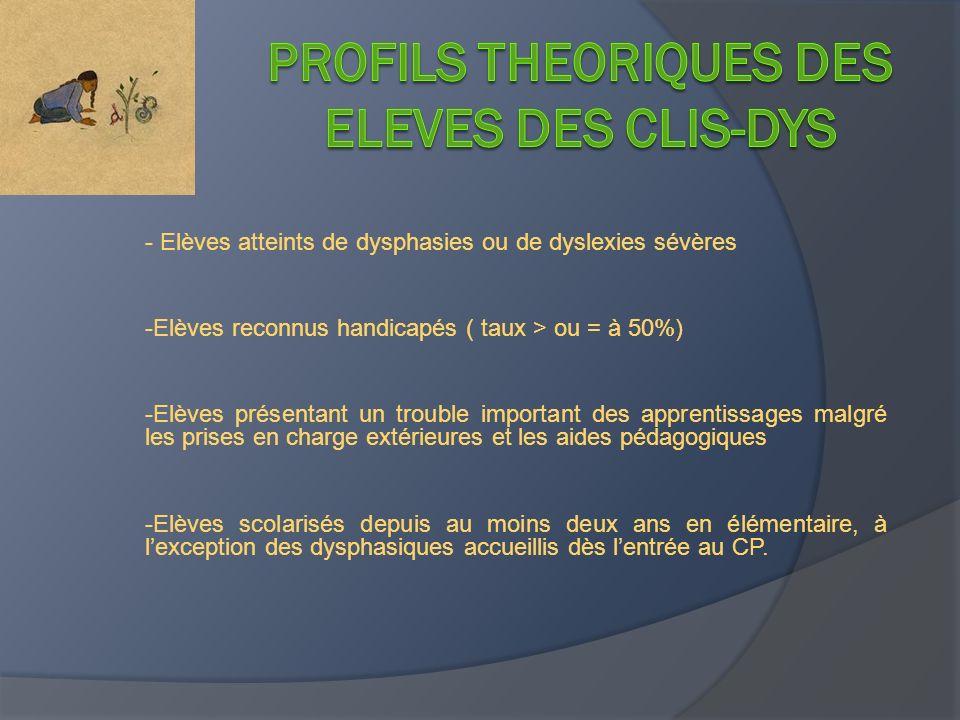 - Elèves atteints de dysphasies ou de dyslexies sévères -Elèves reconnus handicapés ( taux > ou = à 50%) -Elèves présentant un trouble important des a
