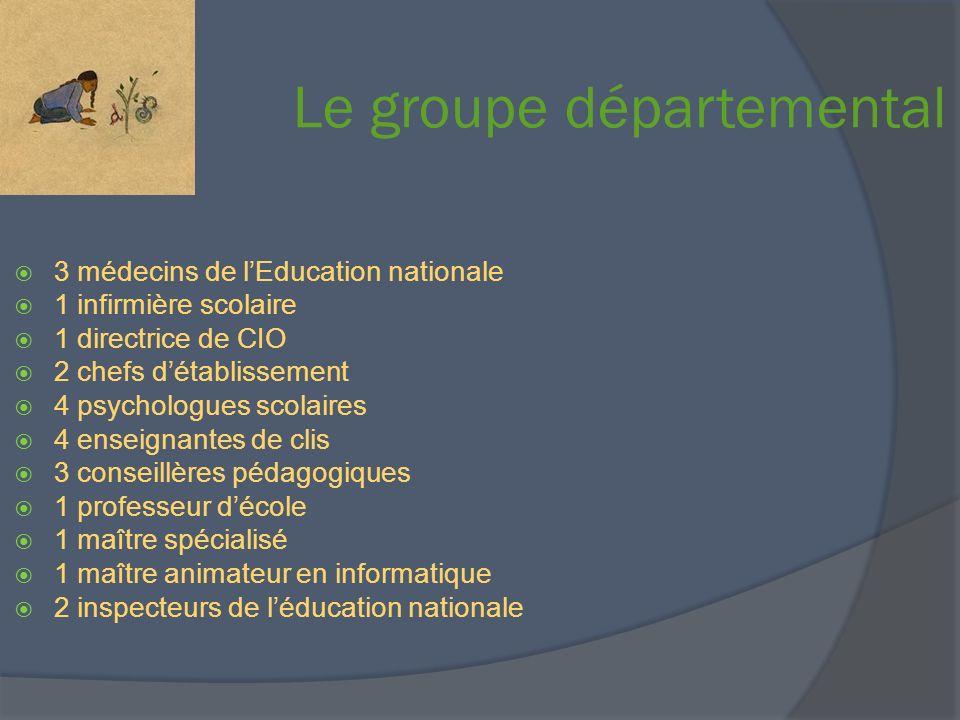 Le groupe départemental 3 médecins de lEducation nationale 1 infirmière scolaire 1 directrice de CIO 2 chefs détablissement 4 psychologues scolaires 4