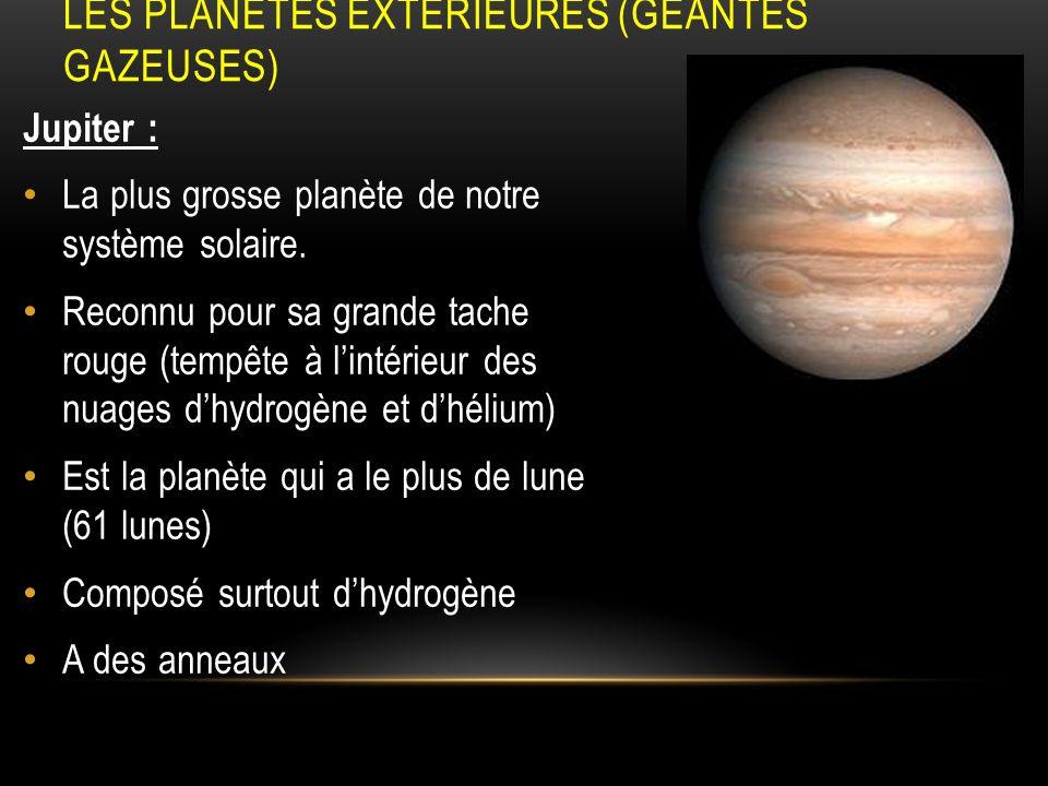 LES PLANÈTES EXTÉRIEURES (GÉANTES GAZEUSES) Jupiter : La plus grosse planète de notre système solaire. Reconnu pour sa grande tache rouge (tempête à l