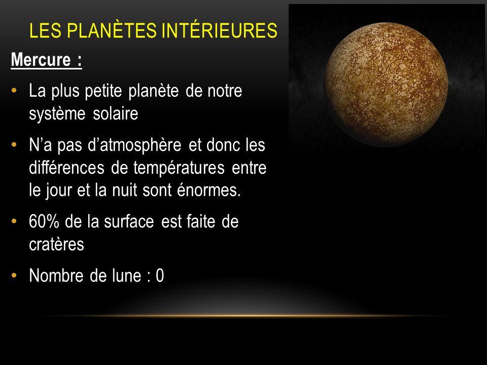 Notre système solaire composé de : tous les corps célèstes qui gravitent autour de lui (planètes, lunes, comètes, etc.) Les planètes telluriques Les planètes gazeuses Mercure : plus petite planète, différence de température entre jour et nuit énorme, 0 lune Jupiter : plus grosse planète, grande tache rouge, 61 lunes Vénus : sœur de la Terre, planète la plus chaude (effet de serre intense), tourne dest en ouest, 0 lune.