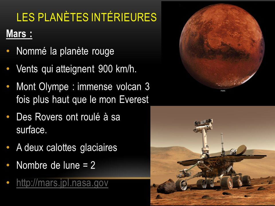 LES PLANÈTES INTÉRIEURES Mars : Nommé la planète rouge Vents qui atteignent 900 km/h. Mont Olympe : immense volcan 3 fois plus haut que le mon Everest