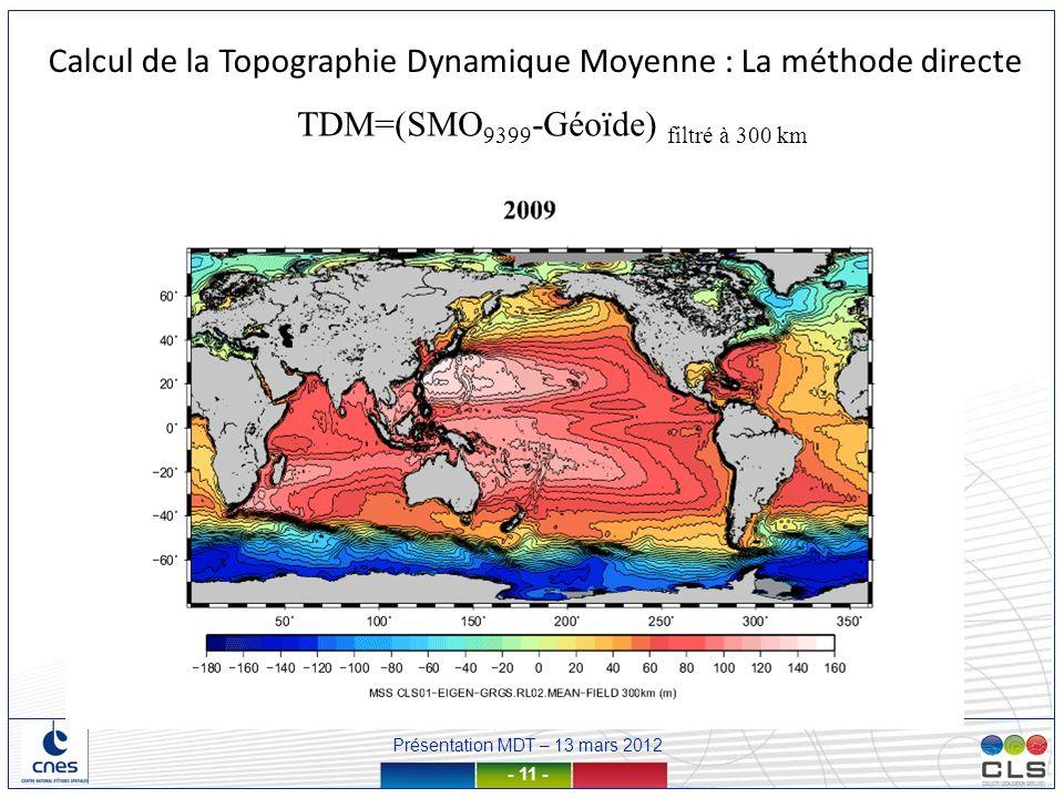 Présentation MDT – 13 mars 2012 - 11 - Calcul de la Topographie Dynamique Moyenne : La méthode directe TDM=(SMO 9399 -Géoïde) filtré à 300 km