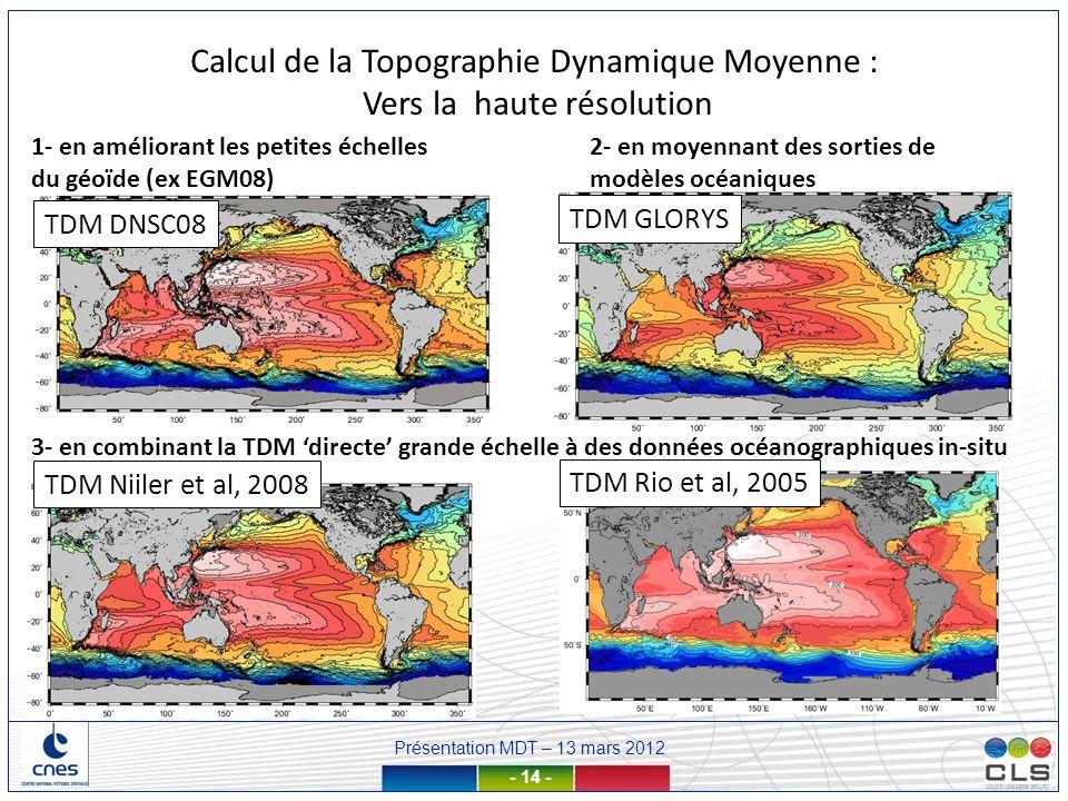 Présentation MDT – 13 mars 2012 - 14 - Calcul de la Topographie Dynamique Moyenne : Vers la haute résolution 1- en améliorant les petites échelles du