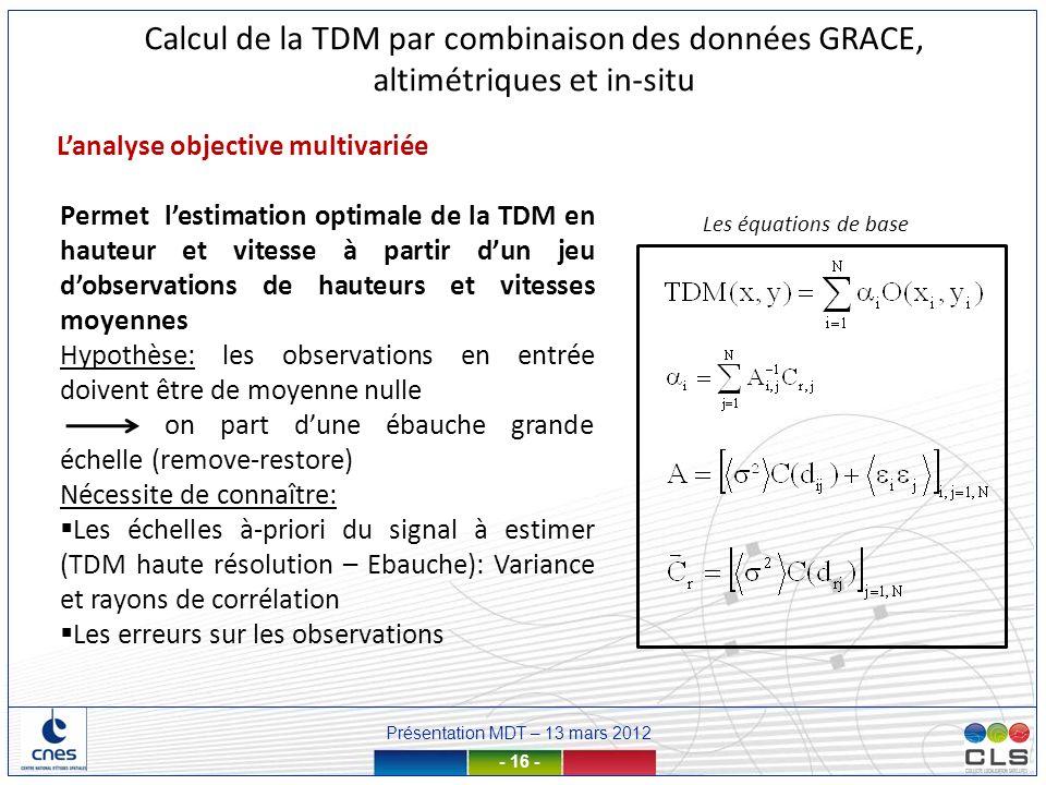 Présentation MDT – 13 mars 2012 - 16 - Calcul de la TDM par combinaison des données GRACE, altimétriques et in-situ Lanalyse objective multivariée Les