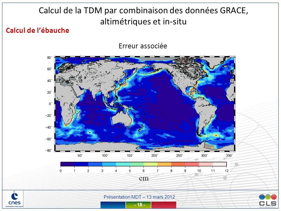 Présentation MDT – 13 mars 2012 - 18 - Erreur associée cm Calcul de lébauche Calcul de la TDM par combinaison des données GRACE, altimétriques et in-s