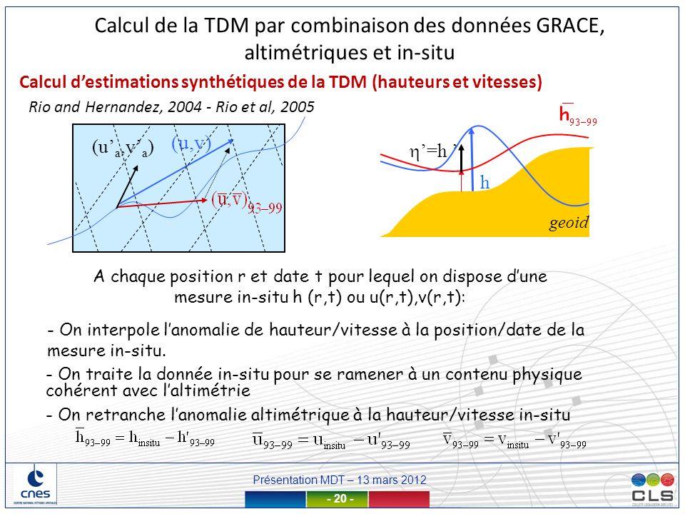 Présentation MDT – 13 mars 2012 - 20 - h geoid (u,v) A chaque position r et date t pour lequel on dispose dune mesure in-situ h (r,t) ou u(r,t),v(r,t)