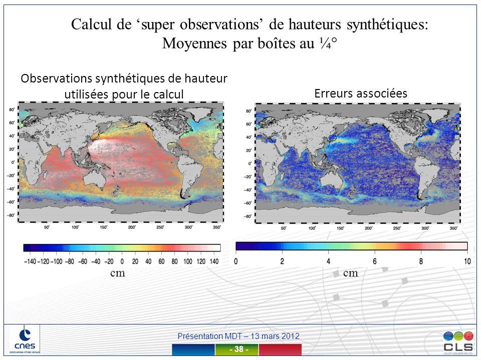 Présentation MDT – 13 mars 2012 - 38 - Calcul de super observations de hauteurs synthétiques: Moyennes par boîtes au ¼° cm Erreurs associées Observati