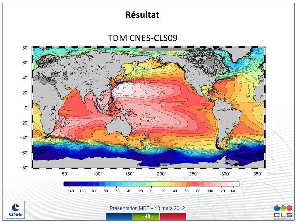 Présentation MDT – 13 mars 2012 - 40 - TDM CNES-CLS09 Résultat