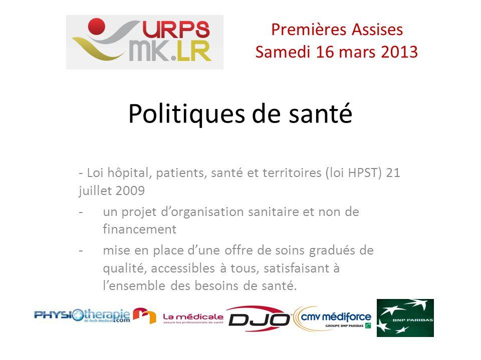 URPS Missions de participation - A des actions dans le domaine: des soins de la prévention de la veille sanitaire de la gestion des crises sanitaires de la promotion de la santé de l éducation thérapeutique Premières Assises Samedi 16 mars 2013