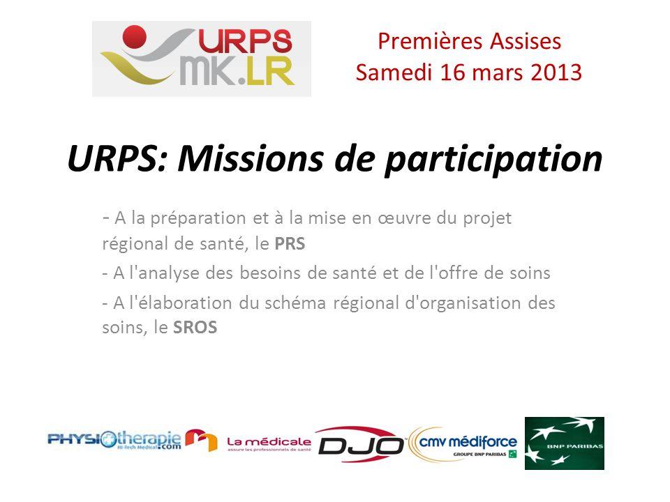 URPS: Missions de participation - A la préparation et à la mise en œuvre du projet régional de santé, le PRS - A l analyse des besoins de santé et de l offre de soins - A l élaboration du schéma régional d organisation des soins, le SROS Premières Assises Samedi 16 mars 2013