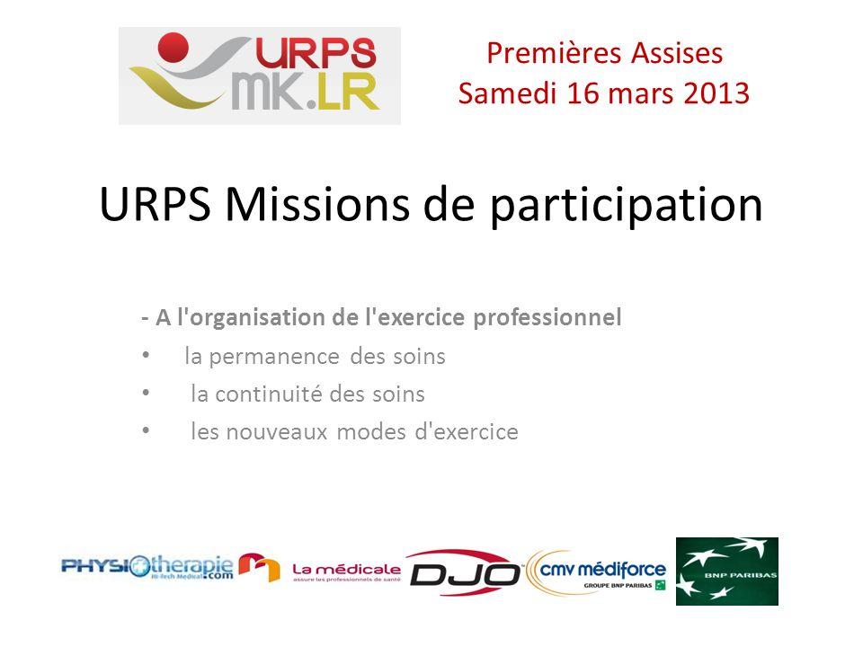 URPS Missions de participation - A l organisation de l exercice professionnel la permanence des soins la continuité des soins les nouveaux modes d exercice Premières Assises Samedi 16 mars 2013