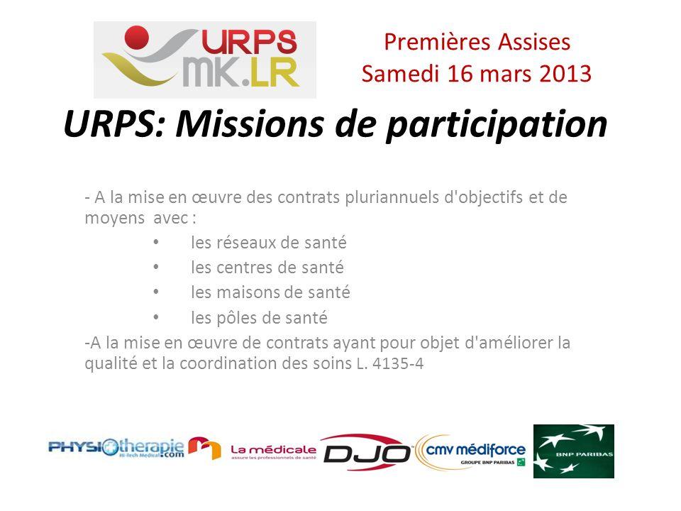 URPS: Missions de participation - A la mise en œuvre des contrats pluriannuels d objectifs et de moyens avec : les réseaux de santé les centres de santé les maisons de santé les pôles de santé -A la mise en œuvre de contrats ayant pour objet d améliorer la qualité et la coordination des soins L.