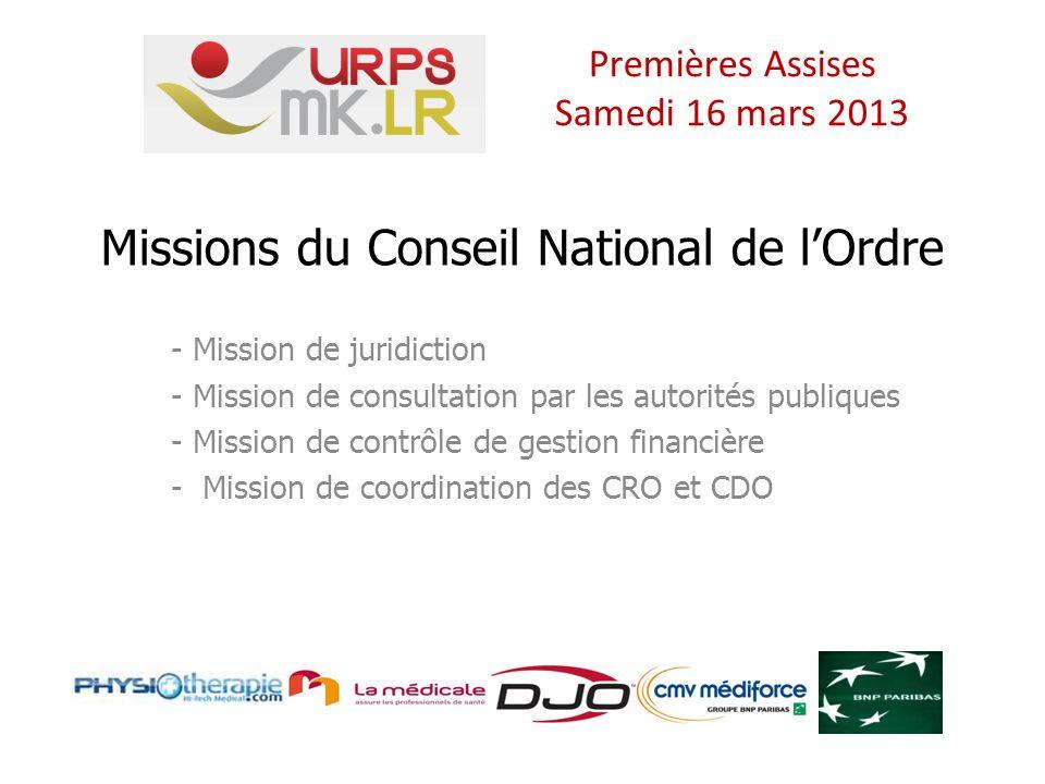 Missions du Conseil National de lOrdre - Mission de juridiction - Mission de consultation par les autorités publiques - Mission de contrôle de gestion financière - Mission de coordination des CRO et CDO Premières Assises Samedi 16 mars 2013