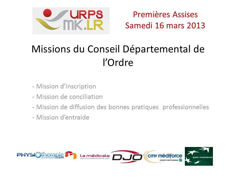 Missions du Conseil Départemental de lOrdre - Mission dinscription - Mission de conciliation - Mission de diffusion des bonnes pratiques professionnelles - Mission dentraide Premières Assises Samedi 16 mars 2013