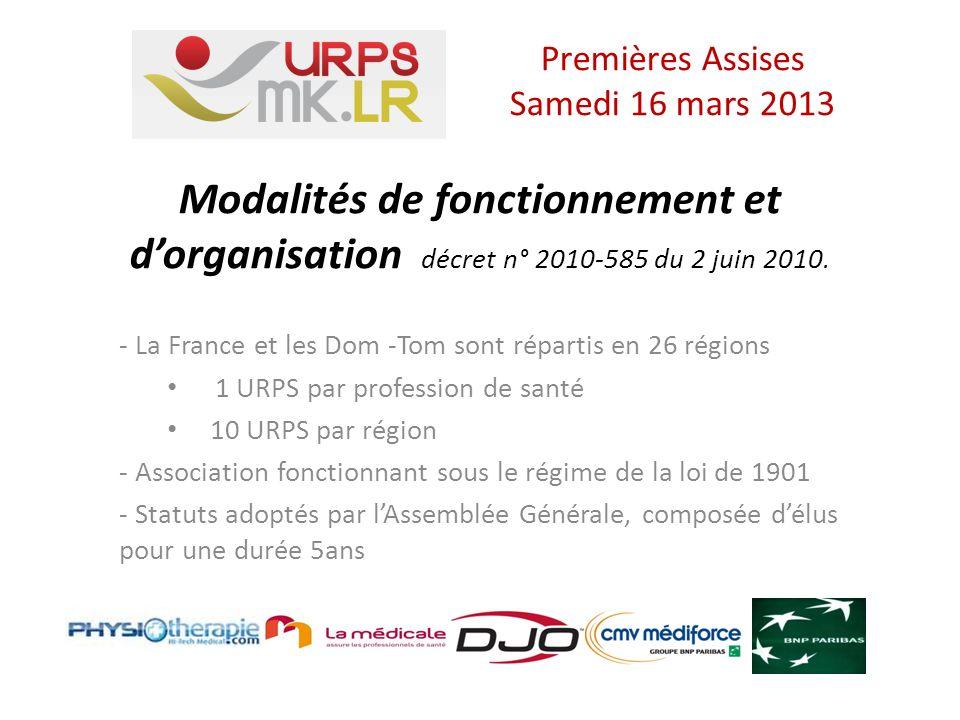 URPS Missions de participation - Au déploiement et à l utilisation des systèmes de communication et d information partagés, le GCS E-SANTE - A la mise en œuvre du développement professionnel continu, le DPC Premières Assises Samedi 16 mars 2013