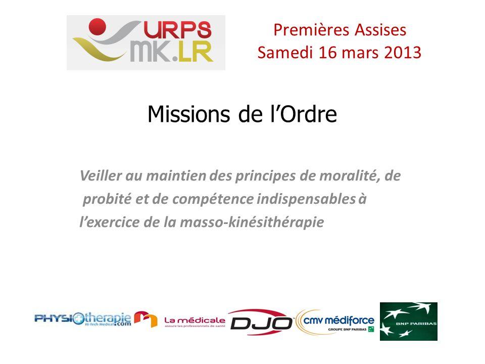 Missions de lOrdre Veiller au maintien des principes de moralité, de probité et de compétence indispensables à lexercice de la masso-kinésithérapie Premières Assises Samedi 16 mars 2013