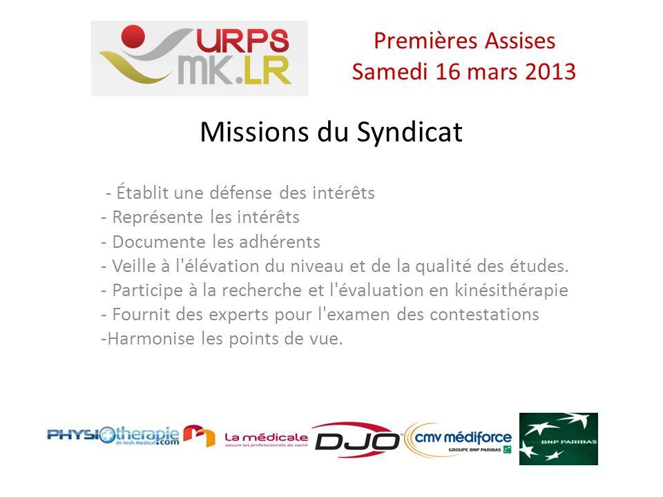 Missions du Syndicat - Établit une défense des intérêts - Représente les intérêts - Documente les adhérents - Veille à l élévation du niveau et de la qualité des études.
