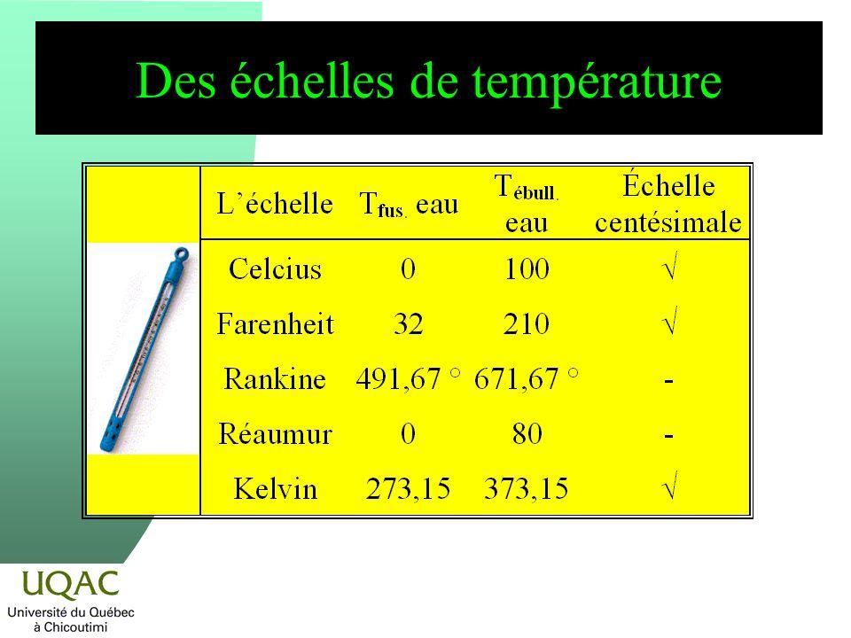 Des échelles de température