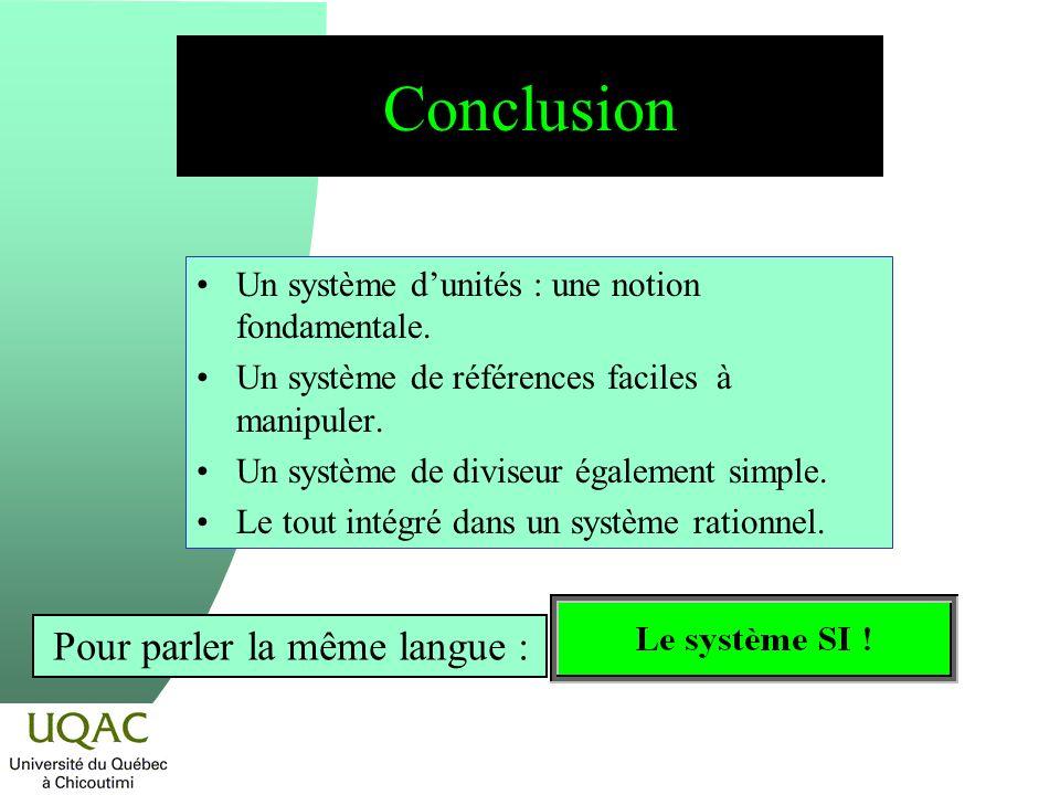 Conclusion Un système dunités : une notion fondamentale.