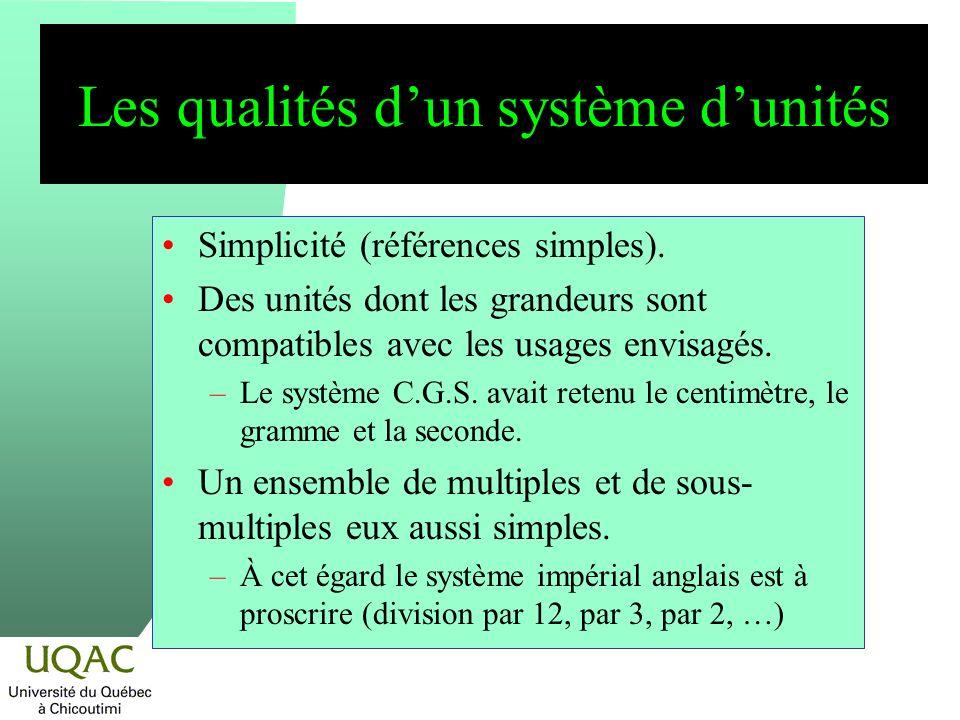 Les qualités dun système dunités Simplicité (références simples). Des unités dont les grandeurs sont compatibles avec les usages envisagés. –Le systèm
