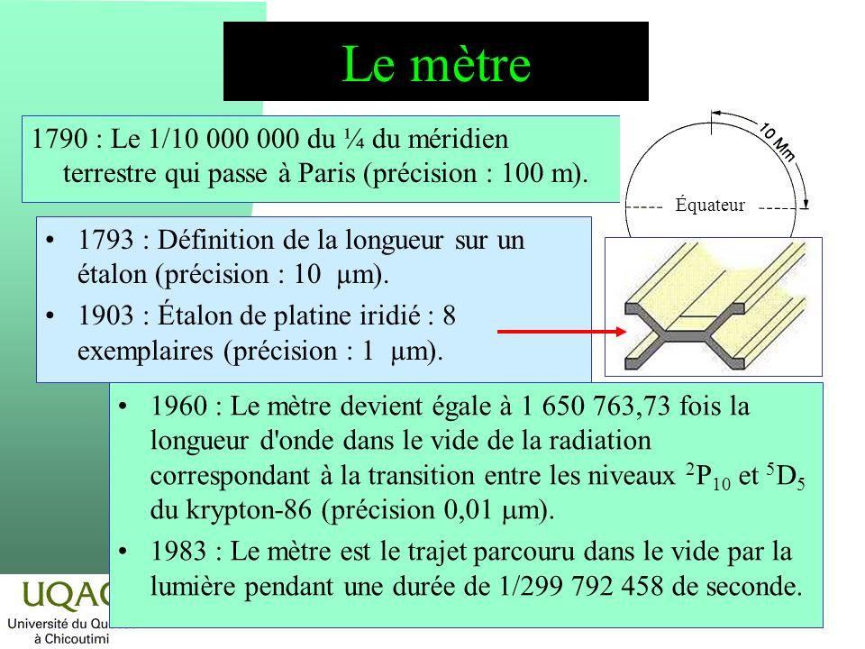 Le mètre 1790 : Le 1/10 000 000 du ¼ du méridien terrestre qui passe à Paris (précision : 100 m). 1960 : Le mètre devient égale à 1 650 763,73 fois la