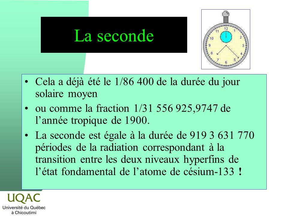 La seconde Cela a déjà été le 1/86 400 de la durée du jour solaire moyen ou comme la fraction 1/31 556 925,9747 de lannée tropique de 1900. La seconde