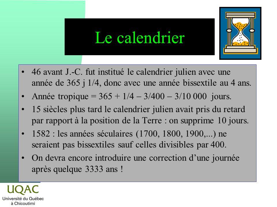46 avant J.-C. fut institué le calendrier julien avec une année de 365 j 1/4, donc avec une année bissextile au 4 ans. Année tropique = 365 + 1/4 3/40
